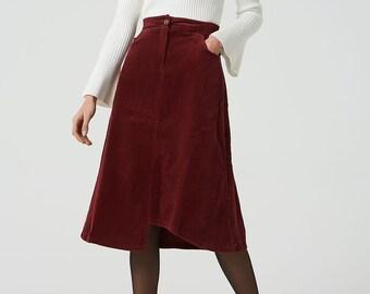 7b324ee71e corduroy skirt, red corduroy skirt, a line skirt, women skirt, elastic  waist skirt, corduroy skirt women, midi skirt, pockets skirt 2043