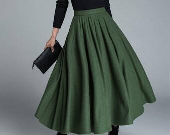d7b70bb930 green wool skirt, winter skirt, pleated skirt, full skirt, skirt with  pockets, maxi skirt, custom made, womens skirts, gift ideas 1641. xiaolizi
