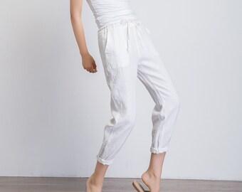 white capri pants, linen pants women, casual loose fitting pants, ladies pants, summer linen trousers, pants with pockets, slacks pant 1944