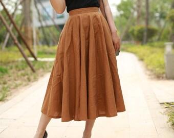 285baf571 midi skirt, summer linen skirt, pleated skirt, fitted skirt, circle skirt, flared  skirt, high waisted skirt, womens skirt, mod clothing 2194