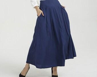 fe301e5679e5 blue skirt, linen skirt, pleated skirt, long linen skirt, summer skirt, women  skirt, pockets skirt, handmade skirt, high waist skirt 2040