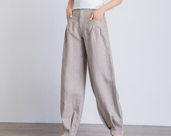 baggy pants, gray pants, casual loose pants, baggy trousers women, maxi pants, loose fit pants, summer pants, pants with pockets 1940
