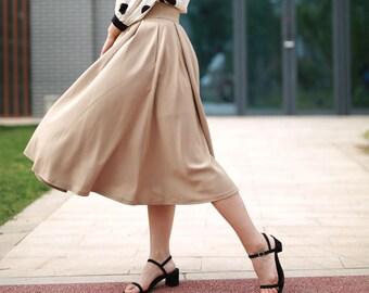 2c09364c16 circle skirt, pleated skirt, khaki skirt, summer skirt women, elegant skirt,  swing skirt, casual skirt, xiaolizi handmade skirt 2196
