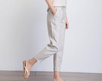linen pants with drawstring waist, women linen trousers, classic linen pants, summer linen pants, loose pants capri, slacks pant 1942