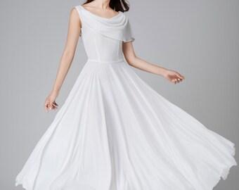 White chiffon dress, white dress, maxi dress, wedding dress, prom dress, bridesmaids dress, elegant dress, handmade dress, long dress 1540