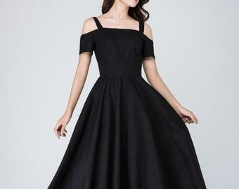 Off shoulder dress, linen maxi dress, linen dress, short sleeve dress, womens summer dress, Black dress, prom dress, women linen dress 1576