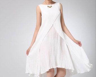 White linen dress, tunic dress, linen tunic, summer linen dress, layered dress, midi dress, sleeveless dress, loose fitting dress 1230
