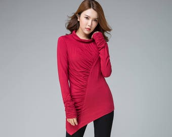 asymmetrical top women, red tops, knit blouse, fall tops, pleated top, casual shirt, t shirt with extra long sleeves, cowl neck 1851