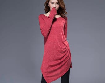 red top, knit dress, tunic dress, tunic tops, asymmetrical top, handmade top, fall dress, womens dresses with extra long sleeves, gift 1816
