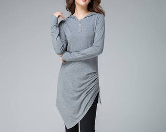 knit top women, long sleeve shirt, hooded top, fall blouse, gray top, irregular shirt, day dress, plus size top, gift for mom  1852