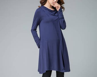 blue dress, knit dress, shift dress, tiered dress, short dress, tunic dress, womens tops, fall dress, causal dress, plus size dress  1853