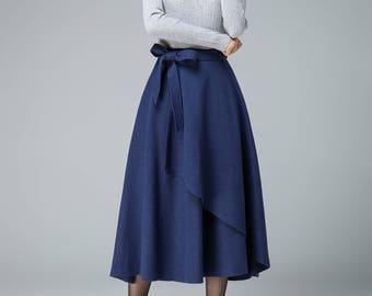 evening skirt, blue skirt, wool skirt, layered skirt, tie belt skirt, boho skirt, romantic skirt, midi skirt, womens skirts, warm skirt 1836