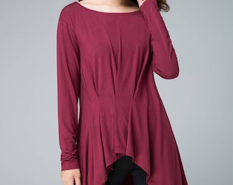 long sleeves asymmetrical blouse, knit blouse, womens tops, fall shirt, pleated top, loose blouse, handmade top, plus size top 1850