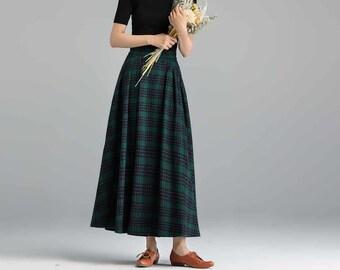 Wool skirt, A Line Maxi skirt, winter skirt women, Long skirt, pleated skirt, pocket skirt, high waisted skirt, fit and flare skirt 1091#