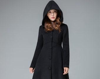 Winter Long Hooded Wool Princess Coat Women, Vintage Inspired Maxi Wool Coat with Hood, Swing Coat, A Line Coat, Black Coat, Xiaolizi 1839