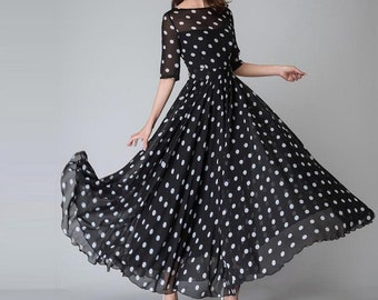 Black and White Polka Dot Maxi Dress, Vintage style Long Swing Chiffon Dress with sleeve, Summer Bohemian Pleated fit and flare dress 1534