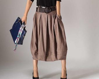 Linen midi skirt, Linen skirt women, brown skirt, womens skirts, Pleated Midi Skirt with pockets, bubble skirt, Spring skirt outfit 1032#