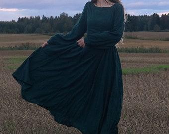 Women Vintage inspired Medieval dress, Long sleeve Linen maxi dress, Green dress, Long dress, Modest dress, Gothic dress, Autumn dress 3125#