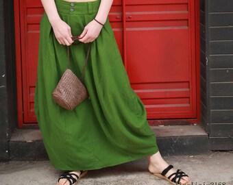 0b905f1df green linen skirt, maxi skirt for women, summer skirt, fitted skirt, bubble  skirt, skirt with pockets, mod clothing, gift for mommy 2168