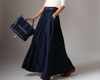 e51e3a3564 Linen skirt, Maxi skirt, linen pleated skirt, long linen skirt, navy linen  skirt, full skirt, pocket skirt, womens skirts long 1046