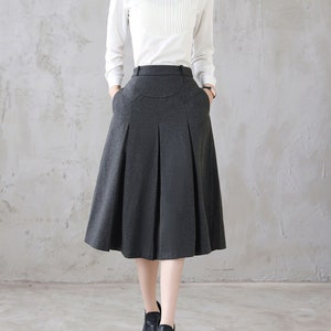 1940s Style Skirts- Vintage High Waisted Skirts     Womens Pleated Midi Wool Skirt in Grey A Line Flared Skirt with Pockets 50s Skirt High Waist Winter Skirt Minimalist Solid Skirt 3123  AT vintagedancer.com