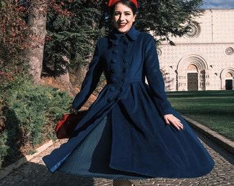 1940s Blue Wool Princess Coat, Long Wool Coat, Double-breasted Wool Coat, Winter Coat Women, Swing wool Coat, Stylish Wool Coat 1971#