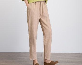 Linen pants women, capri pants, slacks pants, beign linen pants, casual pants, summer pants, pants with pockets, elastic waist trousers 1932