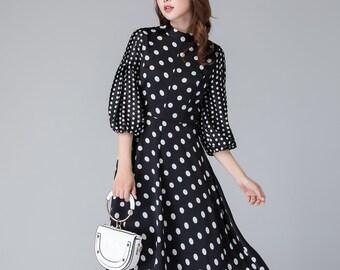 96448961406 Black and white polka dot dress