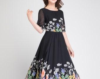 chiffon floral dress, womens dresses, cocktail dress, chiffon dress, black floral dress, long chiffon dress, summer dress, prom dress 1895