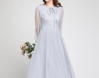 prom dress long, tulle dress gray, boho dress, polka dot dress, wedding dress, long sleeves dress, formal dress, princess dress adult 1880