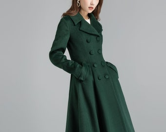 Vintage inspired wool green coat, Long wool coat, Winter coat women, Wool coat women, Double breasted wool coat, Custom coat, Xiaolizi 2398#