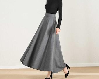 Women/'s X Small Vintage 70/'s Pleated High Waist Wool Skirt