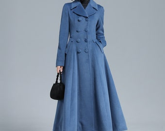 Vintage Inspired Long Wool Princess Coat Women, Fit and Flare Coat, Autumn Winter Outwear, Dress Coat, Double Breasted Coat, Xiaolizi 3127