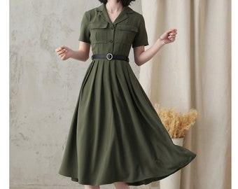 Vintage Work Dress for Women, Pleated Shirt Dress, Green Fit Flare Summer Midi Dress, Military Swing Dresses, Short Sleeve Long Dress 2821