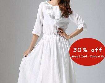 white linen dress, linen dress, maxi dress, white party dress, pleated dress, handmade dress, three quarter sleeves, womens dress (803)