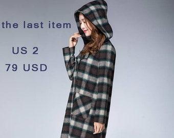hoodie coat, plaid coat, tartan coat, long trench coat, wool coat, plaid coat, hooed coat, winter coat,  loost fitting coat 1870