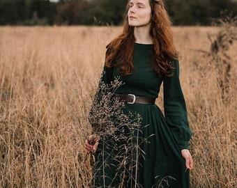 Women's Vintage Inspired Long Sleeve Medieval Maxi Dress, Green Long Linen Dress, Modest dress, Gothic Dress, Spring Autumn Dress 1454#