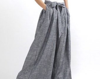 Linen palazzo pants, Grey Linen pants, linen pants, wide leg pants, long linen pants, women linen pants, summer pants, loose linen pants 308