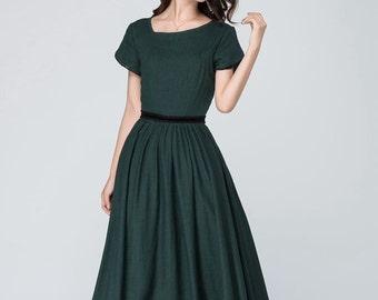 Long linen dress, Prom dress, dark green dress, linen dress, short sleeves dress, summer dress, Handmade Dress, formal dress  1561