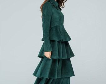 corduroy dress women, green dress, tiered dress, romantic dress, long dress, party dress, wedding dress, custom dress, fall dress 1582
