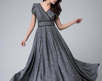 Retro Empire waist maxi dress, Linen dress, Bridesmaid dress, Floor length Gray dress, Custom made dress, prom dress long, Party dress 1492#