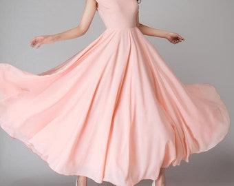 c0514411cb Long pink bridesmaid dress with cap sleeves