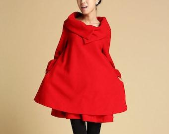 Red wool dress, wool tunic dress, tunic dress, tunic top, winter dress, midi dress, layered dress, womens dress, long sleeve tunic 349