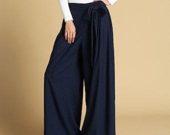 Navy blue pants, linen pants, palazzo pants, wide leg pants, summer pants, pants with pockets, pants women, long linen pants  (471)