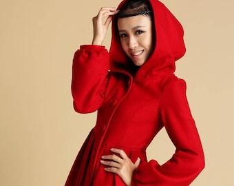 Red wool coat, hooded coat, red jacket, winter coat, fitted coat, short coat, swing coat, flare coat, womens outfits, custom made (333)
