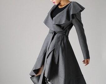 wrap jacket, wool jacket, wrap coat, oversized coat, gray wool coat, women jacket, ruffle coat, winter jacket, mod clothing  (1075)