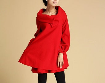 Winter Wool Tunic Dress Women, Red Swing Wool Dress, Plus size A-Line Dress, Oversized Dress with Pockets, Mini dress, Xiaolizi Dress 0349