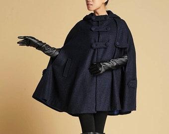 Hooded wool Cape, Autumn winter wool cape coat, Oversized Cape Coat, Plus size wool cape, Blue Wool Poncho Cape Jacket Xiaolizi 0391