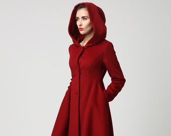 Wool Coat, Winter Coat , Red coat , hooded coat , women coat , long Coat , Winter Coat Woman , Wool Jacket , winter jacket, dress coat 1117