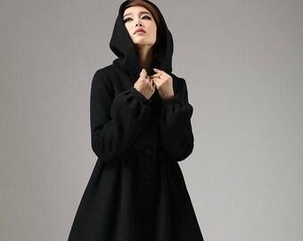 winter jacket , Black jacket , wool jacket , wool coat , hooded coat ,hooded jacket , winter coat , cashmere coat , fall jacket , Custom 730